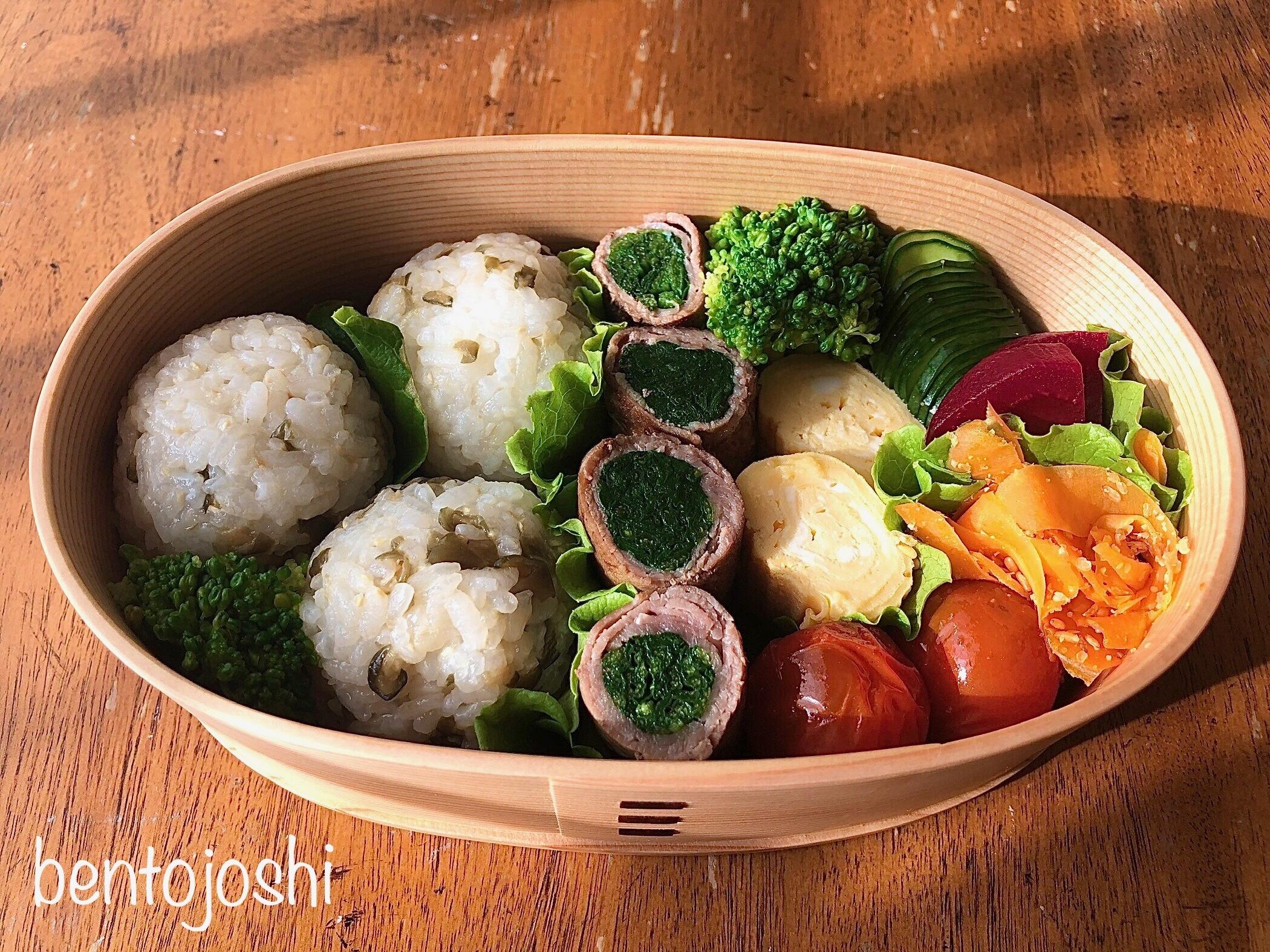 緑の野菜おかずが多いお弁当